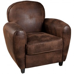 Fauteuil Club microfibre marron TEDDY - Univers du salon : Tousmesmeubles