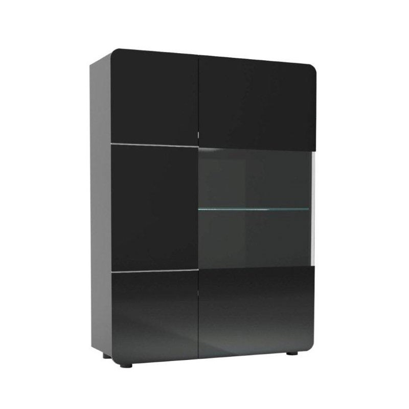 armoire vitrine de salon 2 portes noir mapp univers. Black Bedroom Furniture Sets. Home Design Ideas