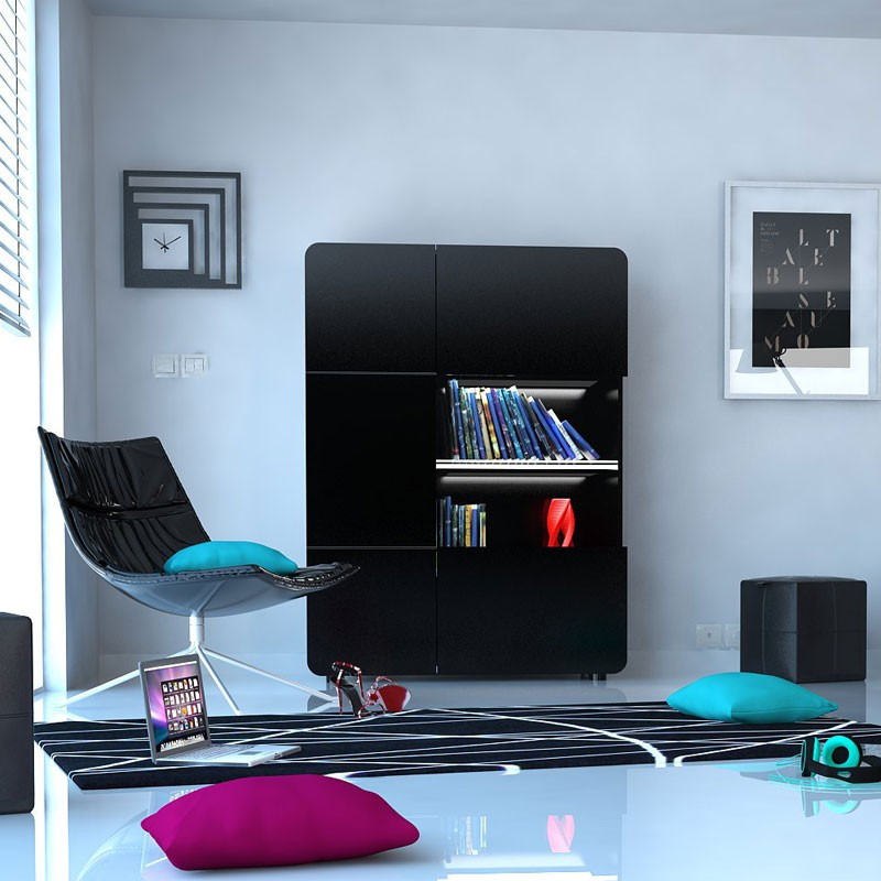 armoire vitrine de salon 2 portes noir mapp univers salle manger. Black Bedroom Furniture Sets. Home Design Ideas