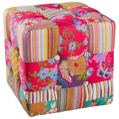 Pouf Patchwork polyester CATHY - Univers Salon : Tousmesmeubles