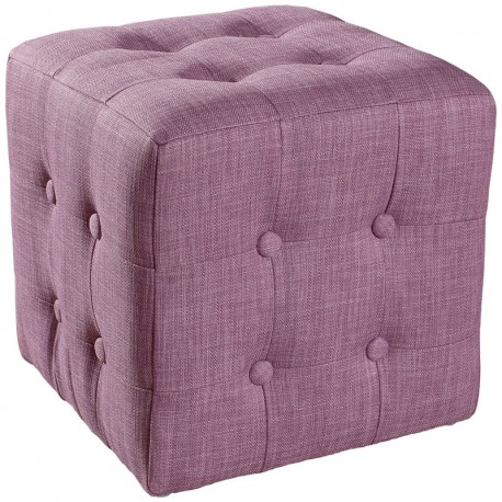 Duo de Poufs Rose polyester CATHY - Univers Salon : Tousmesmeubles