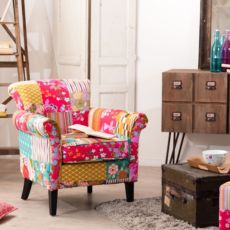 Fauteuil patchwork polyester cathy univers salon for Salon patchwork