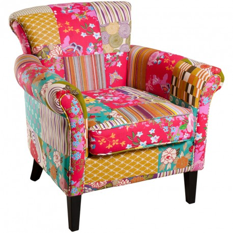Fauteuil Patchwork polyester CATHY - Univers Salon : Tousmesmeubles