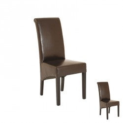Duo de chaises simili cuir marron - Univers Assises : Tousmesmeubles