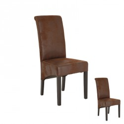 Duo de chaises Microfibre antique Marron - LUCK