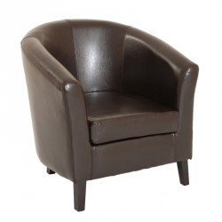 Fauteuil bridge Similicuir Marron - LUCK
