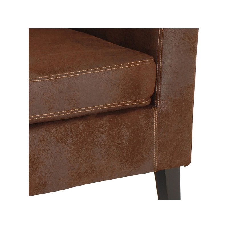 Fauteuil bridge microfibre antique marron luck univers assises tousmesmeu - Fauteuil cabriolet microfibre ...
