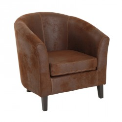 Fauteuil bridge Microfibre antique Marron - LUCK