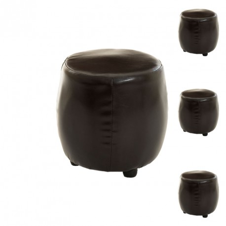 Quatuor de poufs simili cuir marron - Univers Salon : Tousmesmeubles