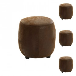 Quatuor de poufs Microfibre antique Marron - LUCK