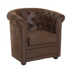 Fauteuil chesterfield Microfibre antique - NICK