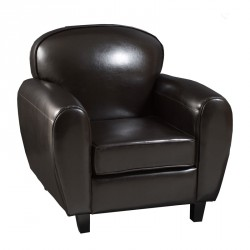 Fauteuil club simili cuir marron LUC - Univers Assises : Tousmesmeubles
