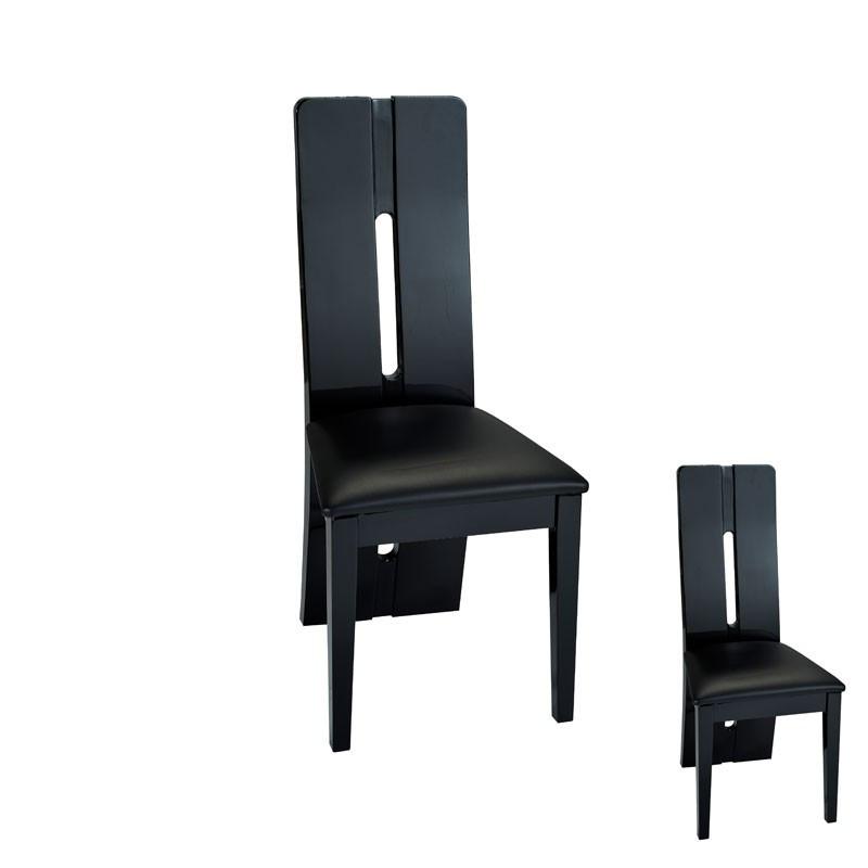 Duo de chaises Simili Cuir Noir FILY - Univers Assises : Tousmesmeubles