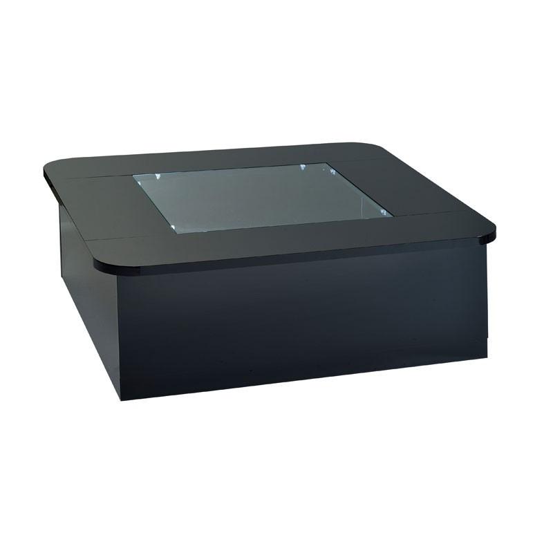 Table basse carrée vitrine à LEDs Noir FILY - Univers Salon : Tousmesmeubles