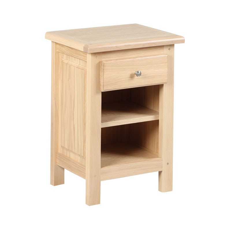Table de chevet 1 tiroir 2 niches campy univers chambre for Table de chevet malm chene blanchi