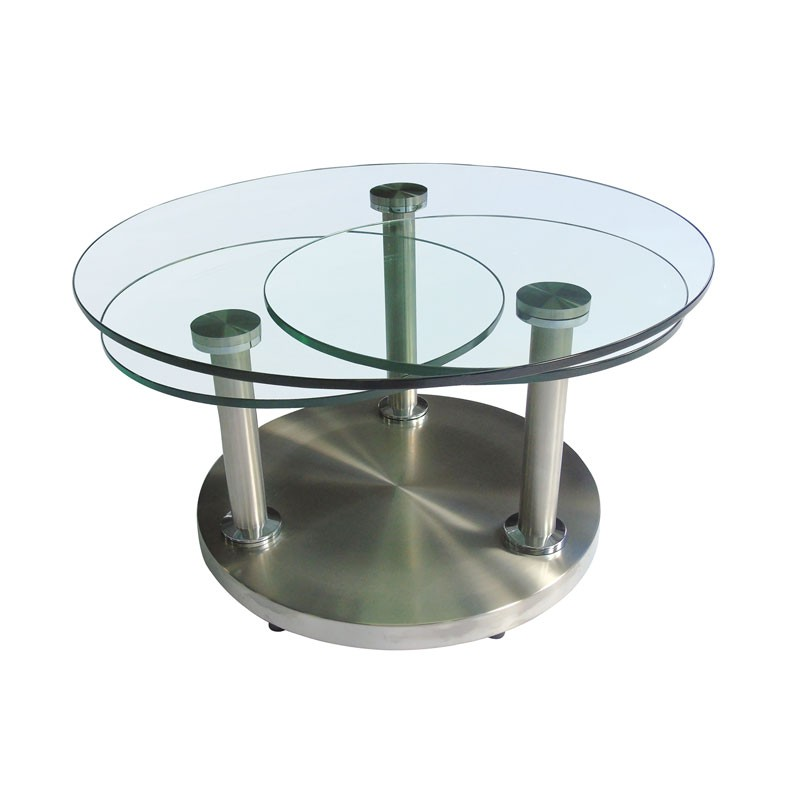 Table basse articul e verre et m tal trygo univers salon for Table basse en verre trempe