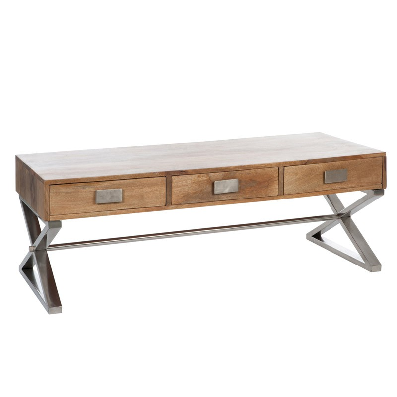 Table basse bois jusqu 74 pureshopping for Grande table de salon en bois