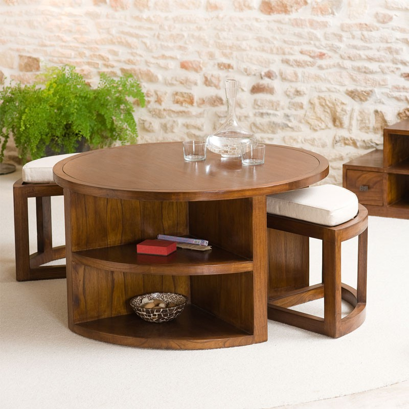 Table basse avec tabouret for Table basse s avec pouf