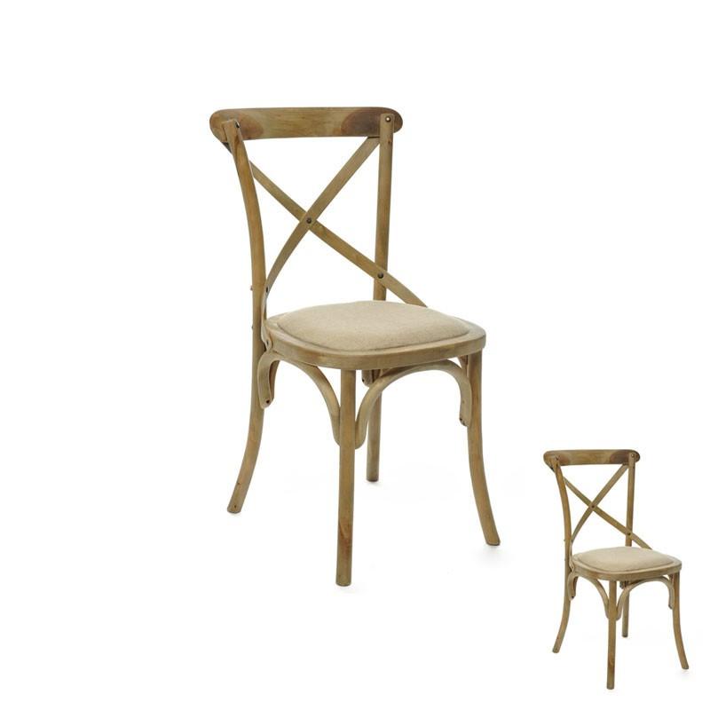 Duo de chaises dossier croisé bois naturel et tissu beige - Univers Assises : Tousmesmeubles