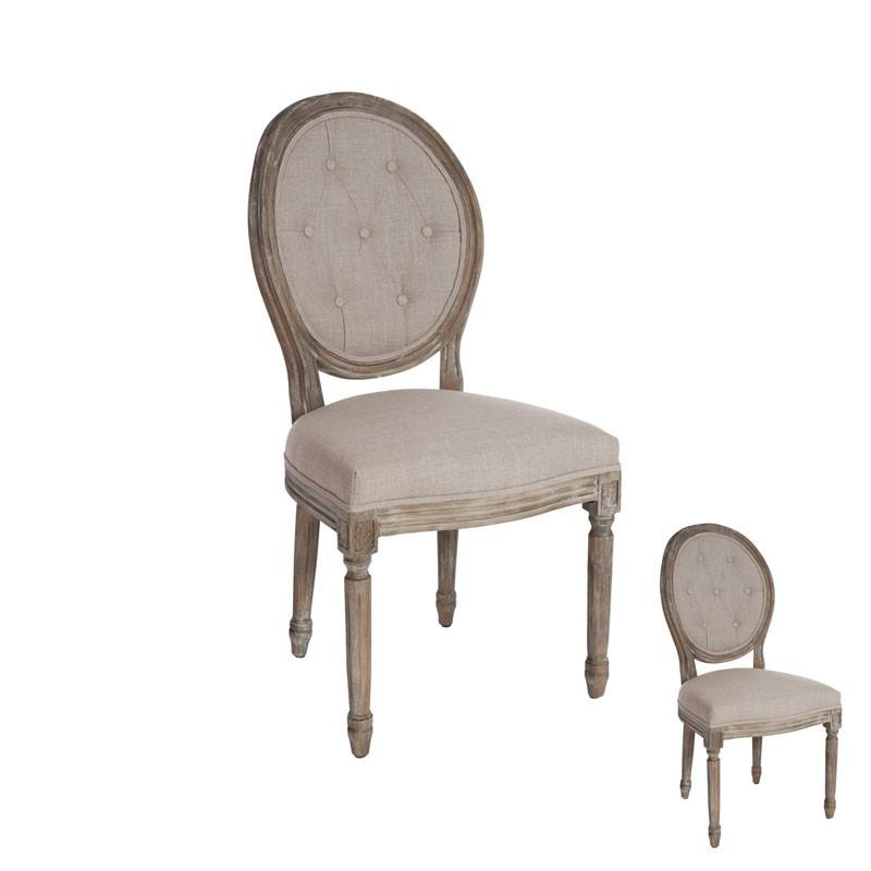 Duo de chaises chêne tissu marron - Univers Assises : Tousmesmeubles