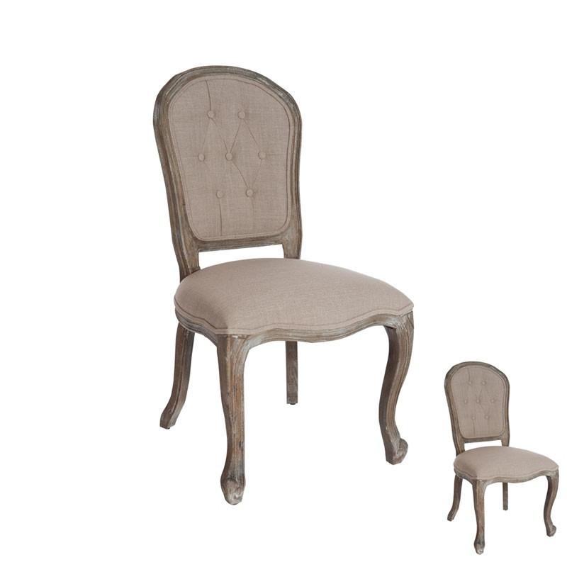 Duo de chaises boutons chêne tissu marron - Univers Assises : Tousmesmeubles