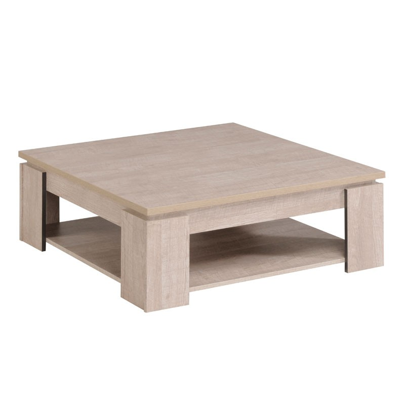 Table basse carr e bois gris barker univers salon tousmesmeubles - Table basse carree en bois ...