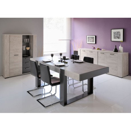 salle manger compl te bois gris barker univers salle manger. Black Bedroom Furniture Sets. Home Design Ideas