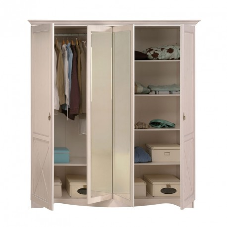 Armoire 4 portes pin blanc gentiane univers chambre for Soldes armoire chambre