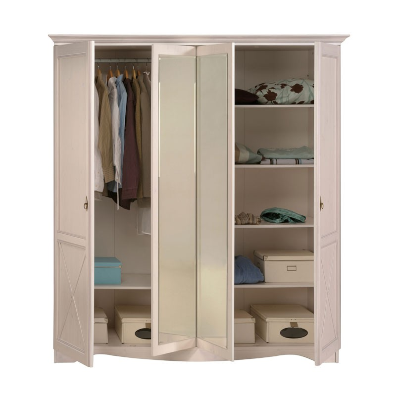 armoire 4 portes pin blanc gentiane univers chambre tousmesmeubles. Black Bedroom Furniture Sets. Home Design Ideas