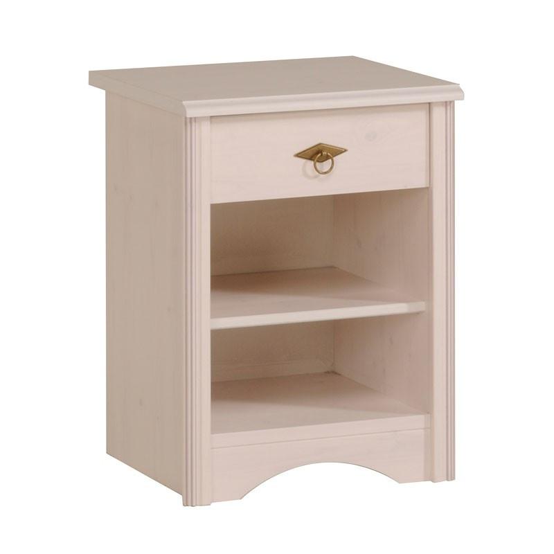 Table de chevet 1 tiroir bois blanc - Univers Chambre : Tousmesmeubles