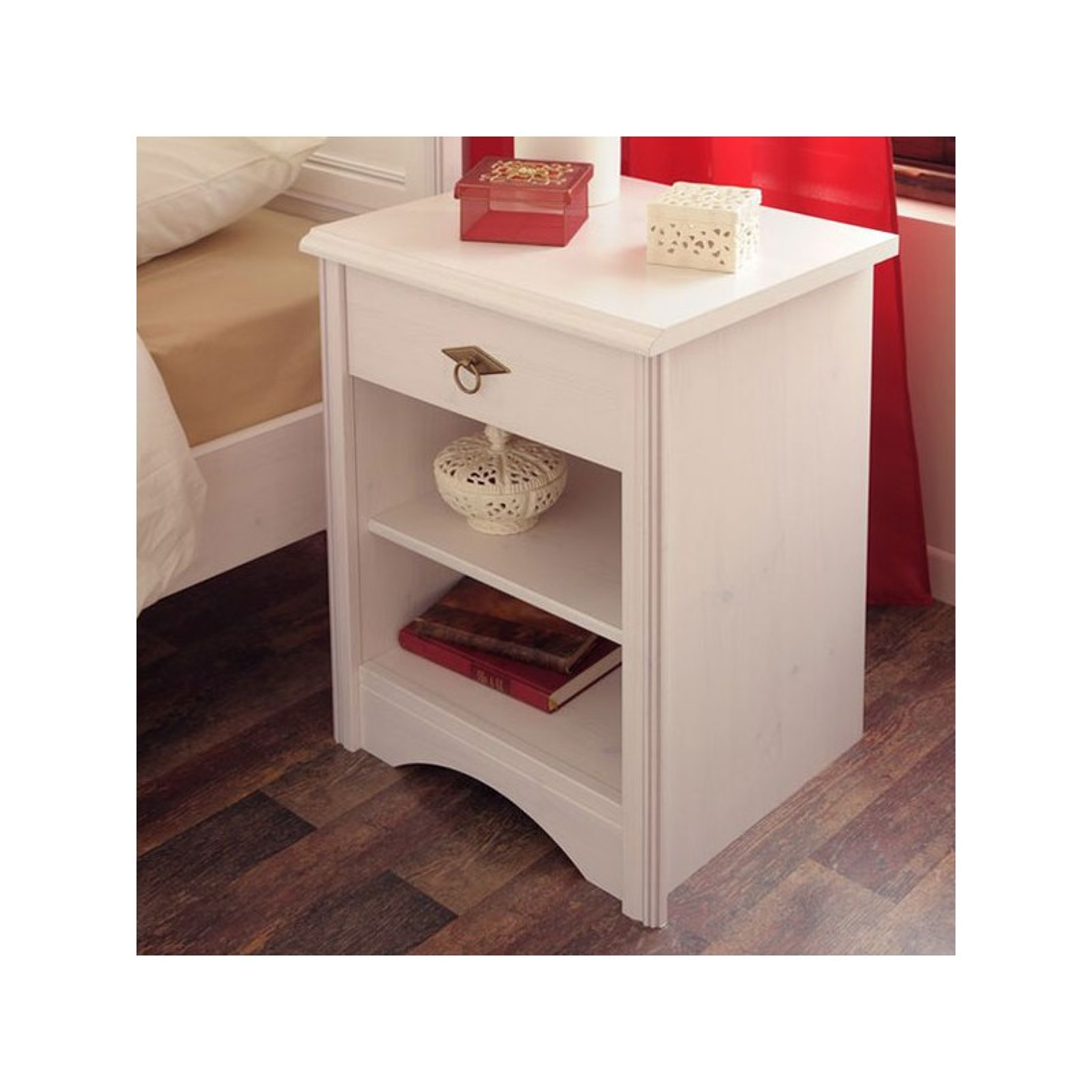 table de chevet 1 tiroir pin blanc gentiane univers chambre. Black Bedroom Furniture Sets. Home Design Ideas