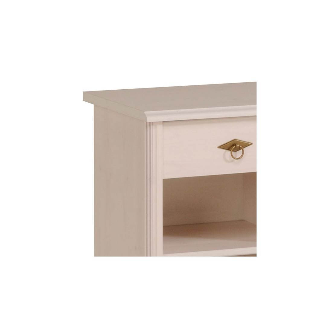 Table de chevet 1 tiroir pin blanc gentiane univers chambre - Table de chevet bois blanc ...
