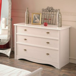 Commode 3 tiroirs Pin Blanc - GENTIANE