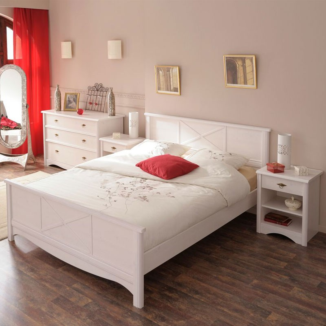 Cadre de lit + Tête de lit 140*190 pin blanc GENTIANE - Univers Chambre