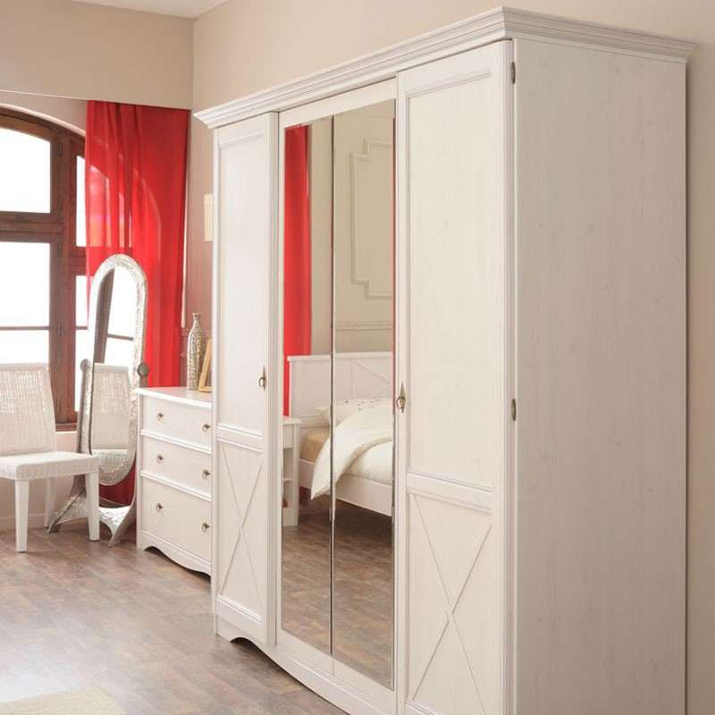 Chambre adulte compl te 140 190 pin blanc gentiane for Chambre complete adulte bois