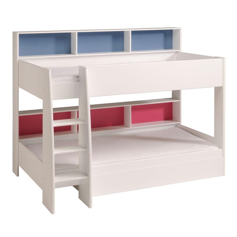 lit superpos enfant bois blanc niches color es funny univers chambre. Black Bedroom Furniture Sets. Home Design Ideas