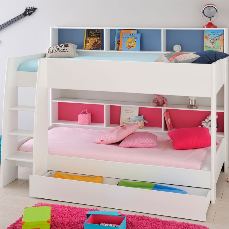 Lit superpos enfant bois blanc niches color es funny univers chambre - Lits superposes blancs ...
