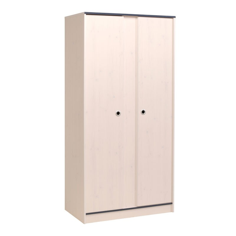 armoire chambre enfant 2 portes bois pin blanc oggy. Black Bedroom Furniture Sets. Home Design Ideas