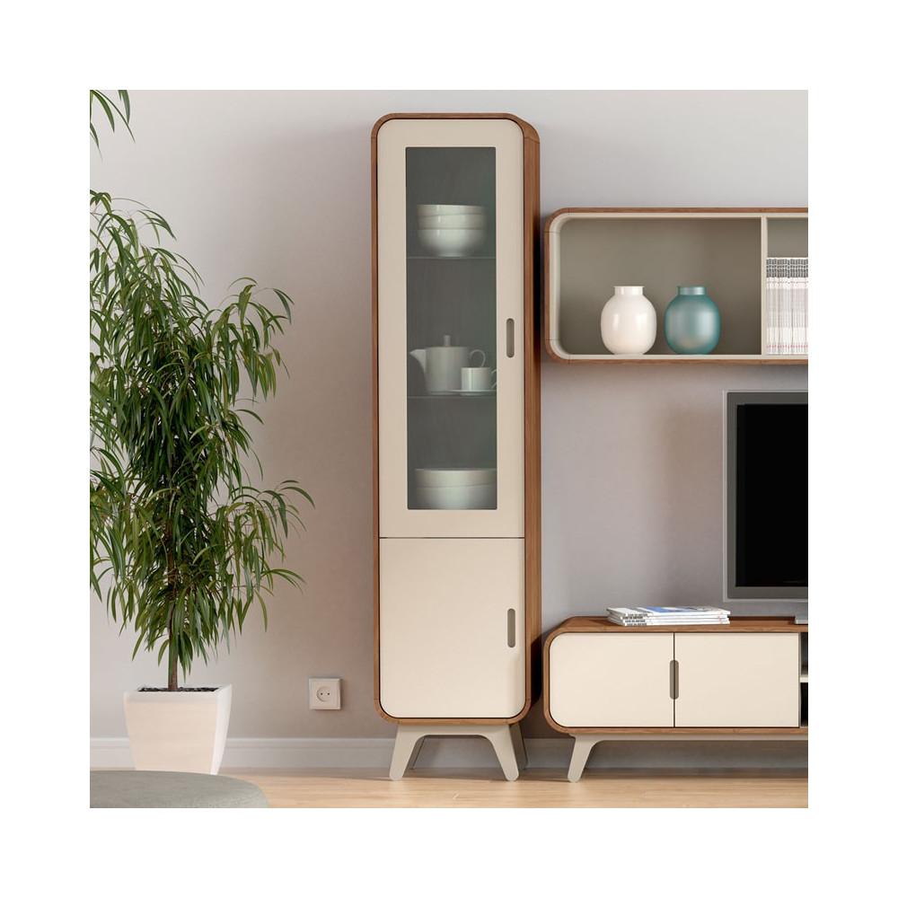vitrine 2 portes fifty univers du salon tousmesmeubles. Black Bedroom Furniture Sets. Home Design Ideas