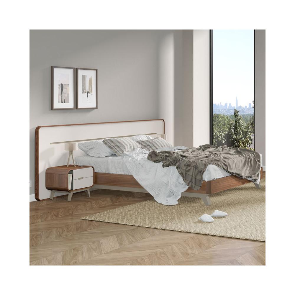 Cadre de lit + Tête de lit vintage bois de noyer et laque FIFTY - Univers Chambre : Tousmesmeubles