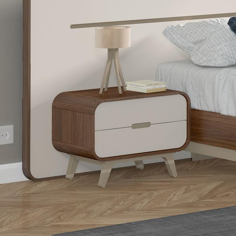 Table de chevet vintage bois de noyer et laque FIFTY - Univers Chambre : Tousmesmeubles