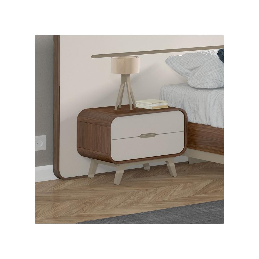 table de chevet 2 tiroirs fifty univers du salon tousmesmeubles. Black Bedroom Furniture Sets. Home Design Ideas