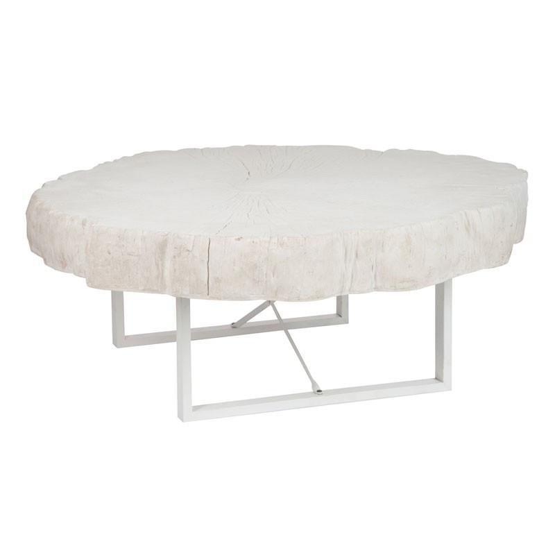 Table basse ronde résine blanche - Univers Salon : Tousmesmeubles