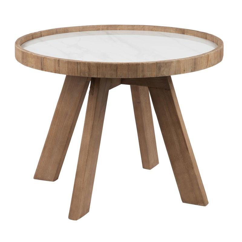 Sellette ronde bois et céramique - MARBLE n°1