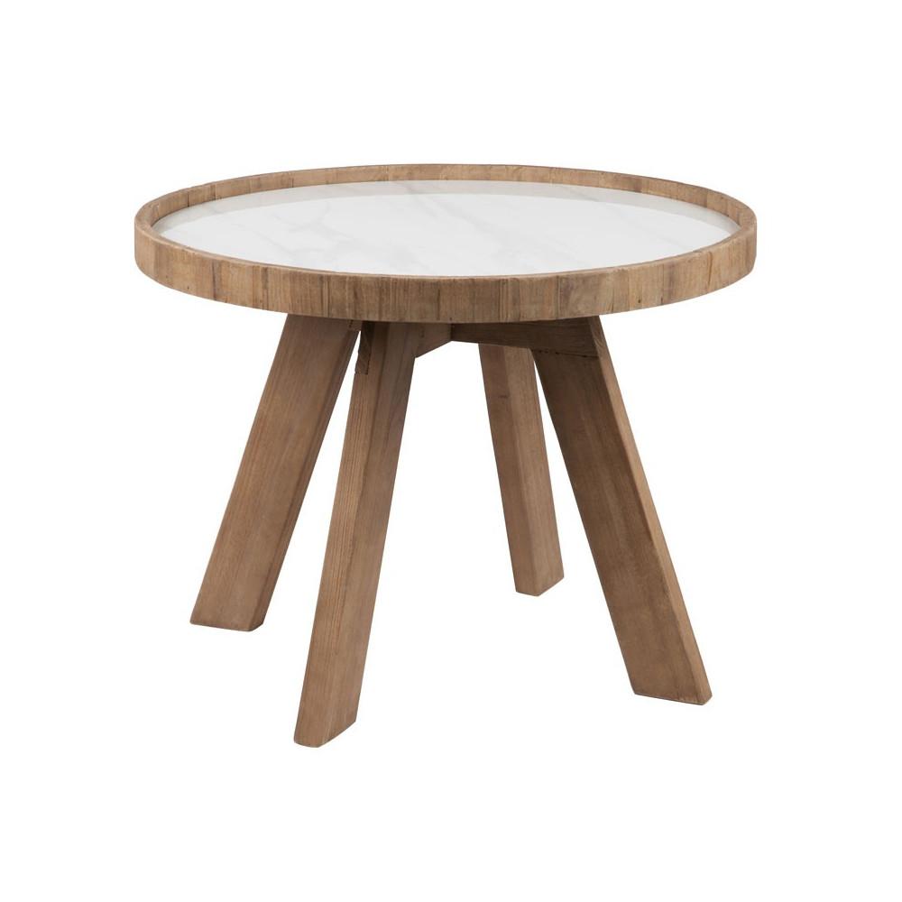 Sellette ronde bois et céramique blanche - Univers Petits Meubles : Tousmesmeubles