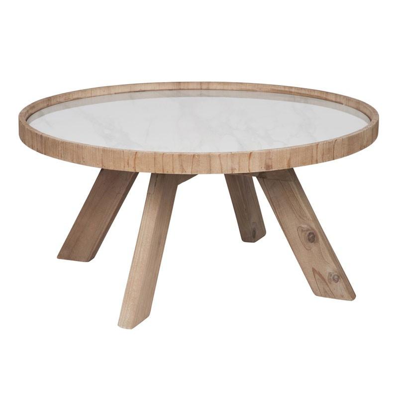 Table basse ronde bois et céramique blanche - Univers Salon : Tousmesmeubles