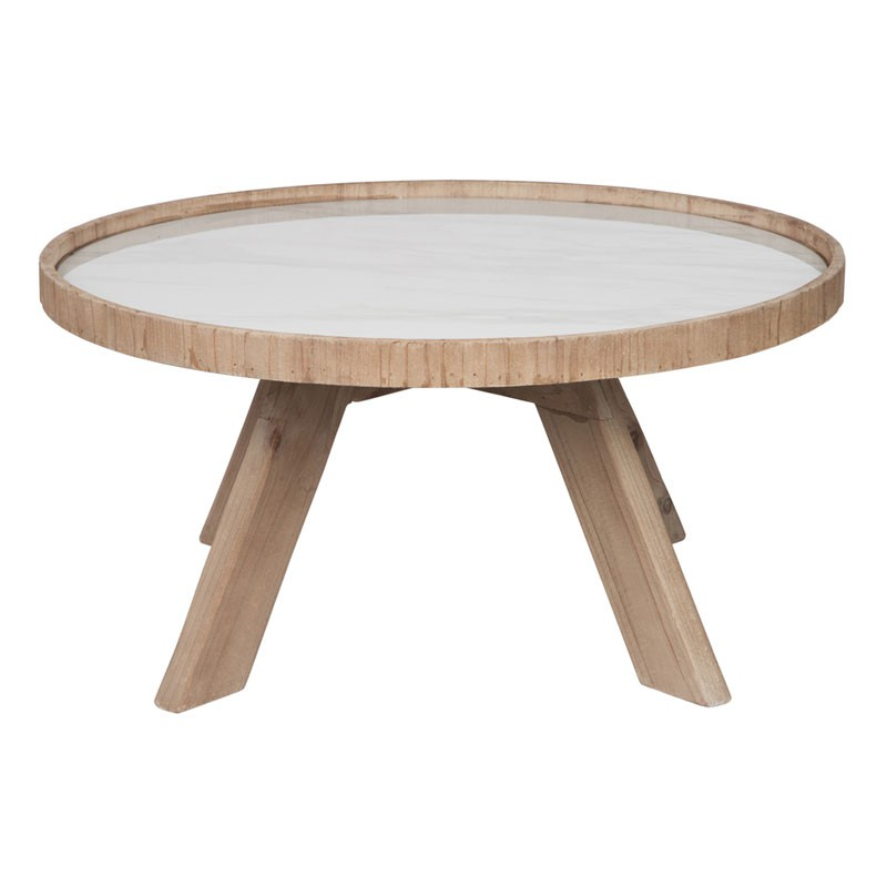 Table basse salon ronde bois for Table ronde bois et fer forge