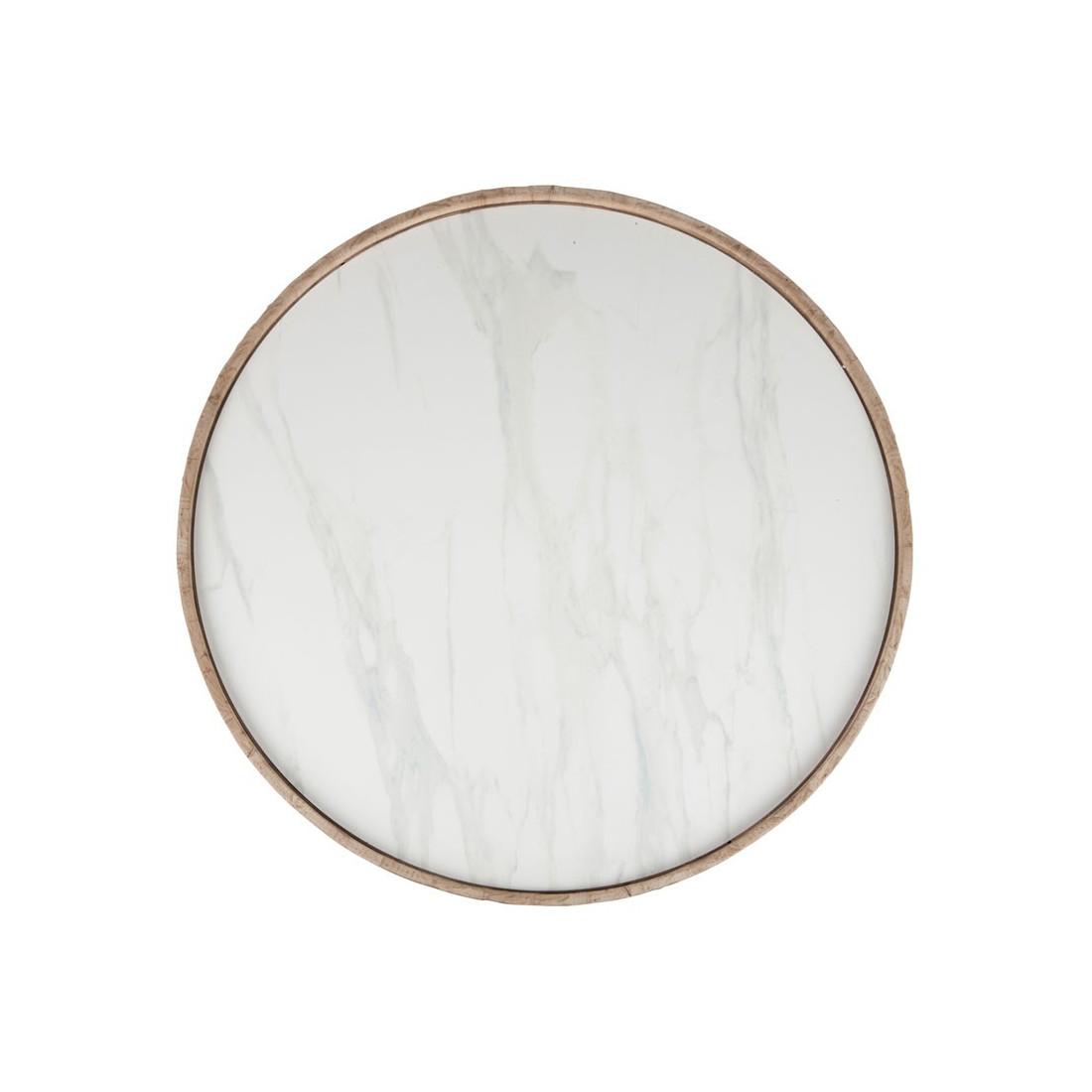 Table Basse Ronde Bois Et Céramique Marbre Marble Univers Salon
