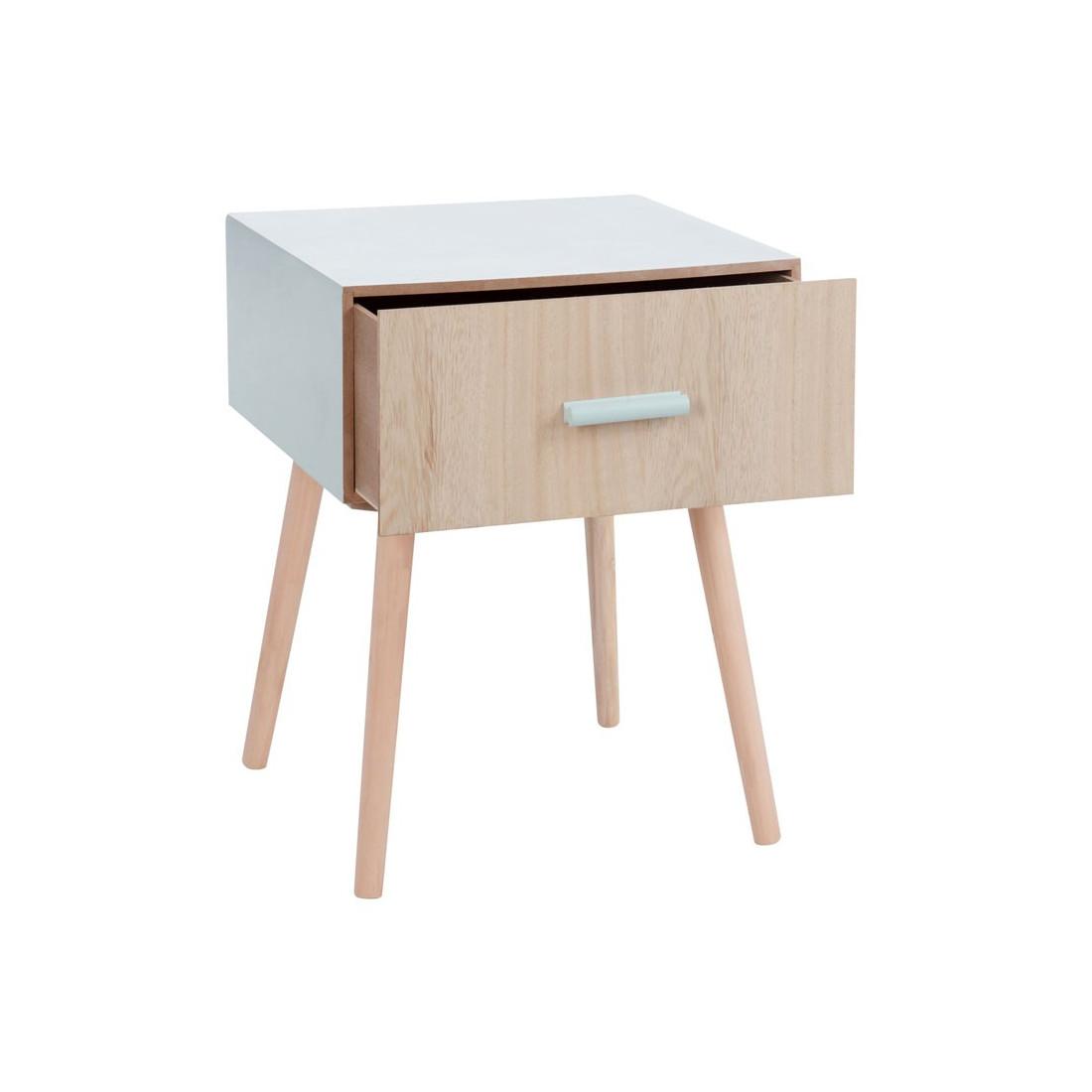 Table de chevet 1 tiroir bois scandinave lili univers - Table de chevet bleu ...