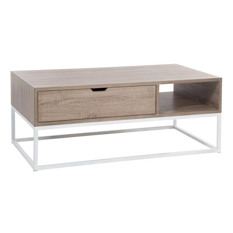 Table basse 1 tiroir bois naturel et piétement métal - Univers Salon : Tousmesmeubles